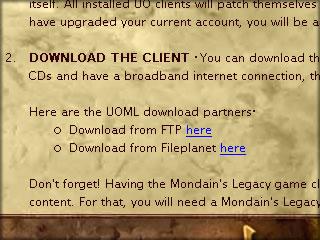 UO.COMのUOMLクライアントダウンロードページ